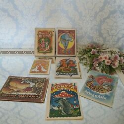 Children's Books Thin 7 Pieces In Ukrainian And Russian. Vintage Old Book Of Th