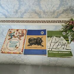 3 Children's Books Fairy Tales, Proverbs, Riddles In Russian Vintage Old Books