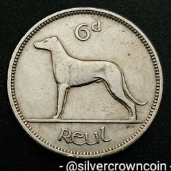Ireland, Eire 6 Pence 1953. Km13a. Sixpence Coin. Wolfhound. Dog. Animals. H