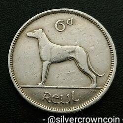 Ireland, Eire 6 Pence 1945. Km13a. Sixpence Coin. Wolfhound. Dog. Animals. H