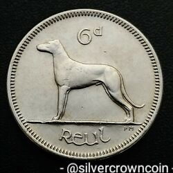 Ireland, Eire 6 Pence 1969. Km13a. Sixpence Coin. Wolfhound. Dog. Animals. H