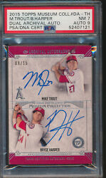 2015 Topps Museum Collection Dual Auto Mike Trout Bryce Harper 9/15 Psa 7