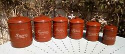 6 Vintage French Enamel Kitchen Food Storage Graduating Canisters