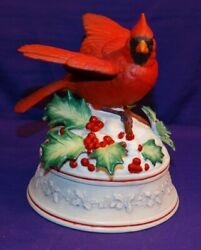 Music Box Red Cardinal Holly Leaves And Berries And Snow Plays Theme From Paganini