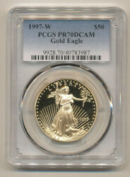 1997 W Proof 50 Gold Eagle Pcgs Pr70 Deep Cameo Pf70