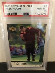 2001 Upper Deck Golf 1 Tiger Woods Rc Rookie Psa 10 Perfect Centering