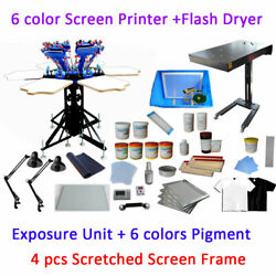 Full Set 6 Color 6 Station Exposure Unit And Flash Dryer Silk Screen Printing Kit