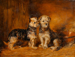 Large 19th Century Scottish Portrait Of Terrier Dog Puppies By John Mcleod