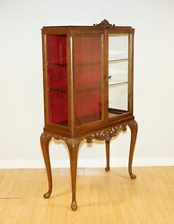 Antique Queen Anne Style Burr Walnut China Display Cabinet