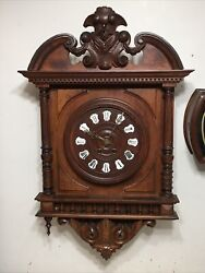 Antique Carved Wood Black Forest / French Wall Clock