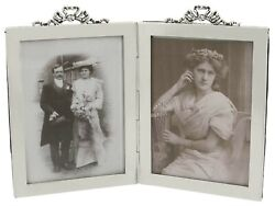 Sterling Silver Double Photograph Frame Antique Edwardian 1907