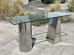 Mid-century Modern J. Wade Beam Polished Steel Console Table