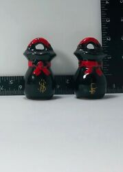 Antique Chinese Baskets Salt And Pepper Shaker Set Black And Red