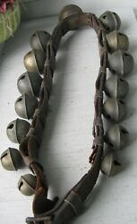 Antique Sensational Signed 15 Graduated Brass Sleigh Bells On Leather W/buckle