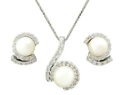 Vintage 1950s 1.27ct Diamond And Pearl 18carat White Gold Earring And Necklace Set