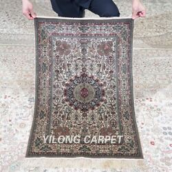 Yilong 2'x3' 500lines Handmade Silk Area Rug Antique Tapestry Home Carpet 574h