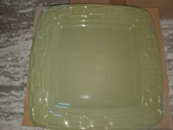 Longaberger Pottery Square Dinner Plate In Sage Green Color Mint Free Shipping