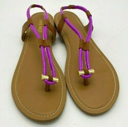 A1248 New Womenand039s Nine West Fabiola Purple And Cognac Synthetic Sandal 12 M