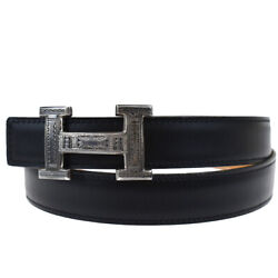 Auth Hermes Touareg Buckle Belt Reversible Leather Brown 925 90 France 10bs409