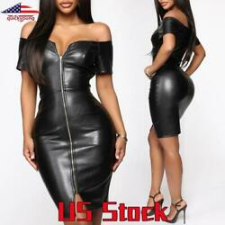 Sexy PU Leather Bodycon Dress Wet Look Women Off Shoulder Zipper Down Party Gown $20.28