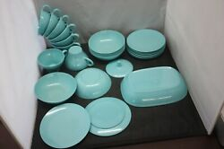 Texas Ware Turquoise/aqua Blue Vintage Cups Bowl Small Plates And Sugar Lid