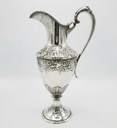 Antique 14.5andrdquo Repousse Floral Sterling Water Pitcher Black Starr And Frost