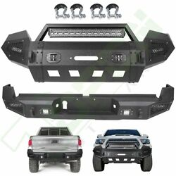 For 2016-2019 Toyota Tacoma Front Rear Bumper W/ Led Light Winch Plate D-ring