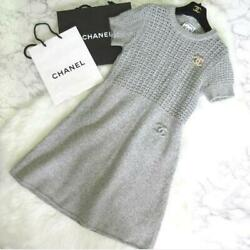 Sale Sports Cashmere Mixed Coco Mark Short Sleeve Dress 38 No.7191