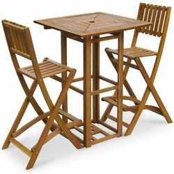 Solid Acacia Wood Outdoor Bar Set Restaurant Cafe Pub Table Chair Furniture Seat
