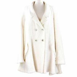 09c Fu Tweed Jacket Women And039s White 36 Double Button Coco Mark No.2677