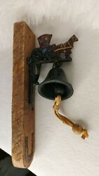 Dinner Bell Cast Iron Wall Mount Antique Style Rustic Hand Painted Horse And Buggy