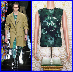 F/w 2012 Look 31 Versace Green Floral Military Sleeveless Knit T-shirt Size M