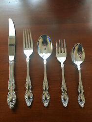 Oneida Baroque Rose 1881 Rogers Vintage Silverplate Flatware Service For 8