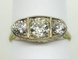 Victorian Style 1.46ct Tw Earth Mined Old Euro 3-stone Diamond Ring 18k Size 8