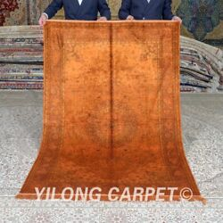 Yilong 4and039x6and039 Antique Hand Knotted Silk Rugs Tapestry Handmade House Carpet 658b