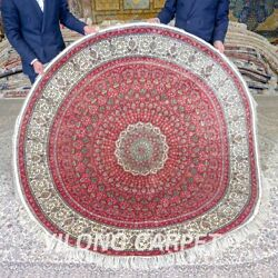 Yilong 6#x27;x6#x27; Red Circular Silk Home Rug Round Handmade Carpets Hand Knotted 666A