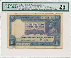 Government Of India India 10 Rupees Nd1917-30 Pmg 25 3 Pcs In Cont. No