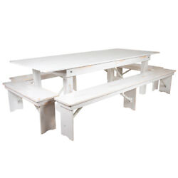 Flash Furniture Hercules Folding Farm Table And Four Bench Set Xa-farm-5-wh-gg