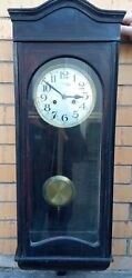 Antique Wooden Mechanical Wall Clock With Mignon Pendulum, Made In Germany