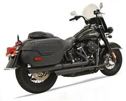 Bassani Staggered Dual Exhaust Black Harley Softail Flde Deluxe/flhc Heritage