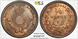 British East Africa Mombasa Silver 1/4 Rupee 1890 Gem Uncirculated Pcgs Ms65