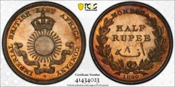 British East Africa Mombasa Silver 1/2 Rupee 1890 Gem Uncirculated Pcgs Ms66
