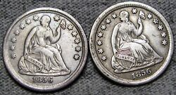 1856 X2 Lot Of 2 Seated Liberty Half Dime ---- Type Coin Lot ---- M564