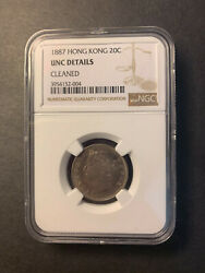 Hong Kong Queen Victoria Silver 20 Cents 1887 Toned Uncirculated Ngc Unc Details