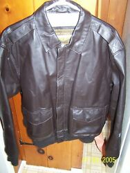 Menand039s Size Medium 40 Brown Leather Bomber Jacket/owned By Ww Ii Af Vet