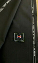 3.5 Metres Black Super 100and039s Wool Blend And Silk Suit Uniform Fabric. 280g