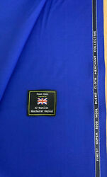3.5 Metres Royal Blue Super 100and039s Wool Blend And Silk Suit Uniform Fabric. 280g
