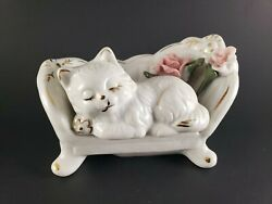 vintage porcelain figurines Cat on sofa White with Pink roses Gold accents