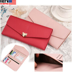 Lady#x27;s Long Wallet Ultra thin Clasp Leather Purse Clutch Cards Money Zipper Bags $11.99