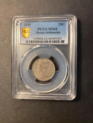 Straits Settlements Q Victoria Silver 20 Cents 1898 Toned Uncirculated Pcgs Ms62